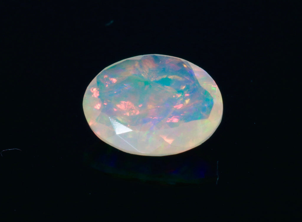 Natural Opal Ethiopian Opal Loose Ethiopian Opal Natural Welo Opal Rainbow Fire Opal Ethiopian Opal Faceted Oval, 10x8mm, 2.67ct-Planet Gemstones