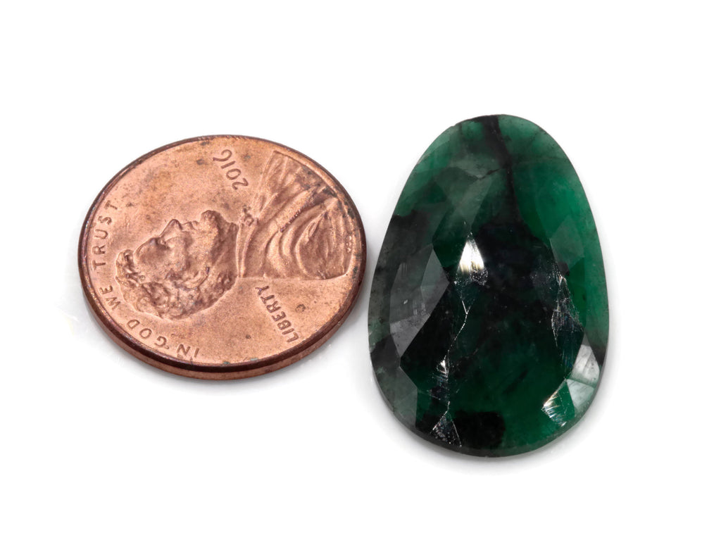Natural Emerald Slice 16x26mm May Birthstone Emerald Green Diy Jewelry Diy Jewelry Supplies Natural Emerald Rose Cut DIY Jewelry Supplies-Planet Gemstones