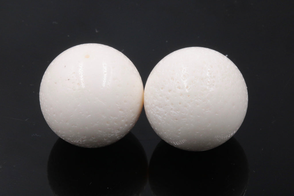 Natural White Coral Beads Round 24mm 2pcs SET DIY Jewelry Supplies Agate beads-Planet Gemstones