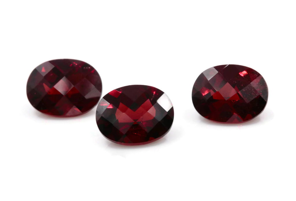 Natural Checkered Red Garnet 8x6mm OV 2.43ct January Birthstone Faceted Garnet gemstone DIY Red Garnet gemstone-Planet Gemstones