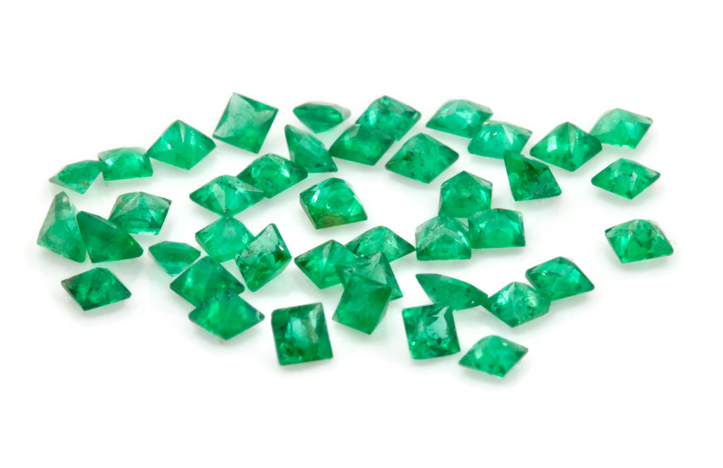 Emerald Natural Emerald May Birthstone Zambian Emerald square Emerald Gemstone Jewelry Supplies DIY Jewelry 0.12ct 2.25mm Emerald Green 2PCS-Emerald-Planet Gemstones