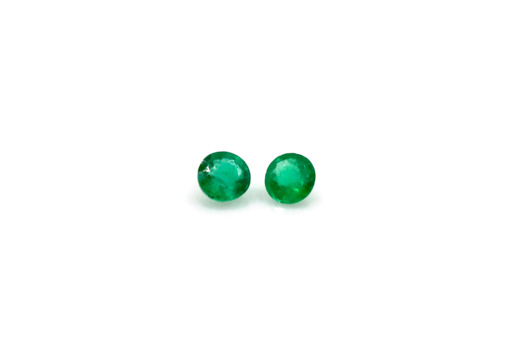 Emerald Natural Emerald May Birthstone Zambian Emerald Round Emerald Diy Jewelry Supplies Emerald Gemstone 0.062ct 2mm Emerald green 2PCS-Emerald-Planet Gemstones