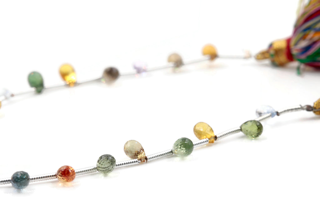 Natural Multi-Color Sapphire Necklace Sapphire Beads September birthstone pink, blue, orange sapphire green Approx 5x3mm PR SKU:113035-Planet Gemstones