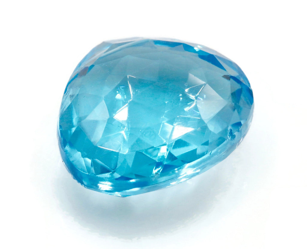 Natural Blue Topaz Gemstone Genuine Blue Topaz Faceted November Birthstone Blue Topaz Loose Blue Topaz Bead drop PR 24x22mm 46ct SKU:113102-Planet Gemstones