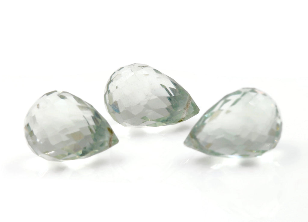 Natural Green Amethyst Pear shape green faceted genuine amethyst DIY Jewelry Supply 14x10mm, 26.13ct DIY Jewelry Supplies SKU:113081-Planet Gemstones