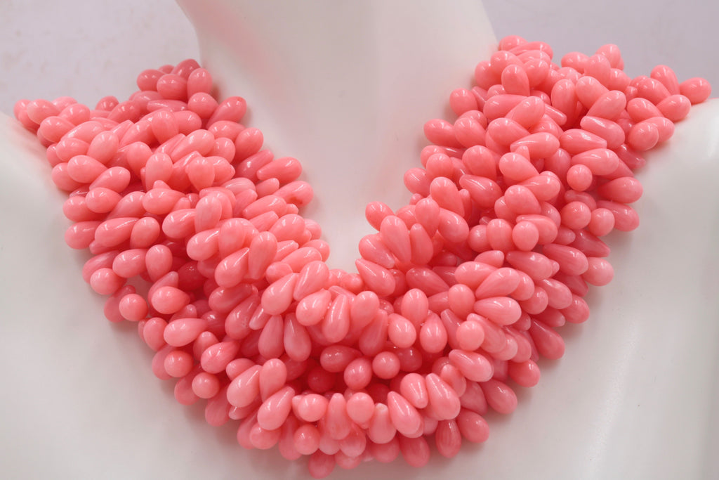 "Natural Coral Beads Coral Necklace Italian Coral beads Pink Coral Beads Coral Beads Pink Coral Beads Coral Bead Necklace 9x5mm16"" SKU:113149-Planet Gemstones"