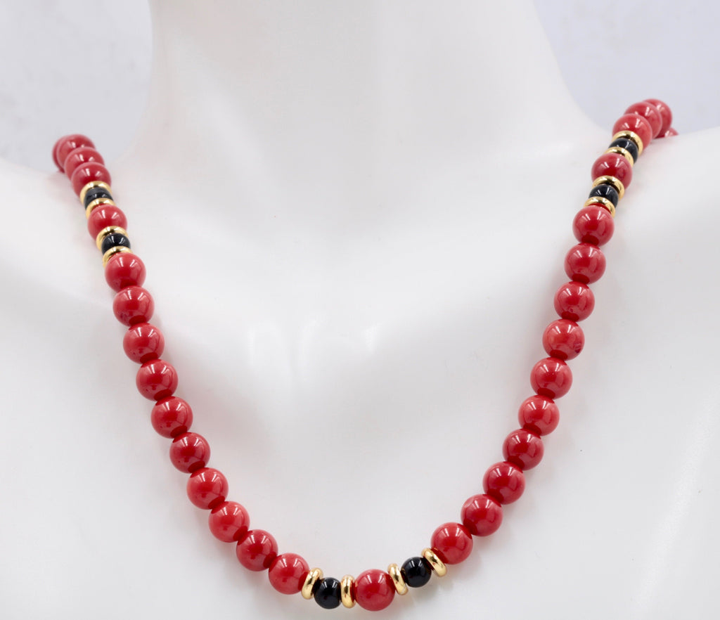 "Natural Coral Beads Coral Necklace Italian Coral beads Red Coral Beads Coral Beads Red Coral Beads Coral Bead Necklace 16"" SKU:113155-Planet Gemstones"