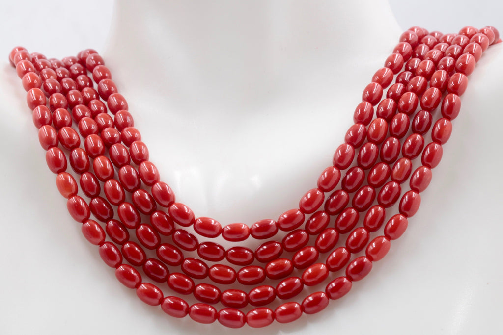 "Natural Coral Beads Coral Necklace Italian Coral beads Red Coral Beads Coral Beads Red Coral Beads Coral Bead Necklace 16"" 6x5mm SKU:113164-Planet Gemstones"