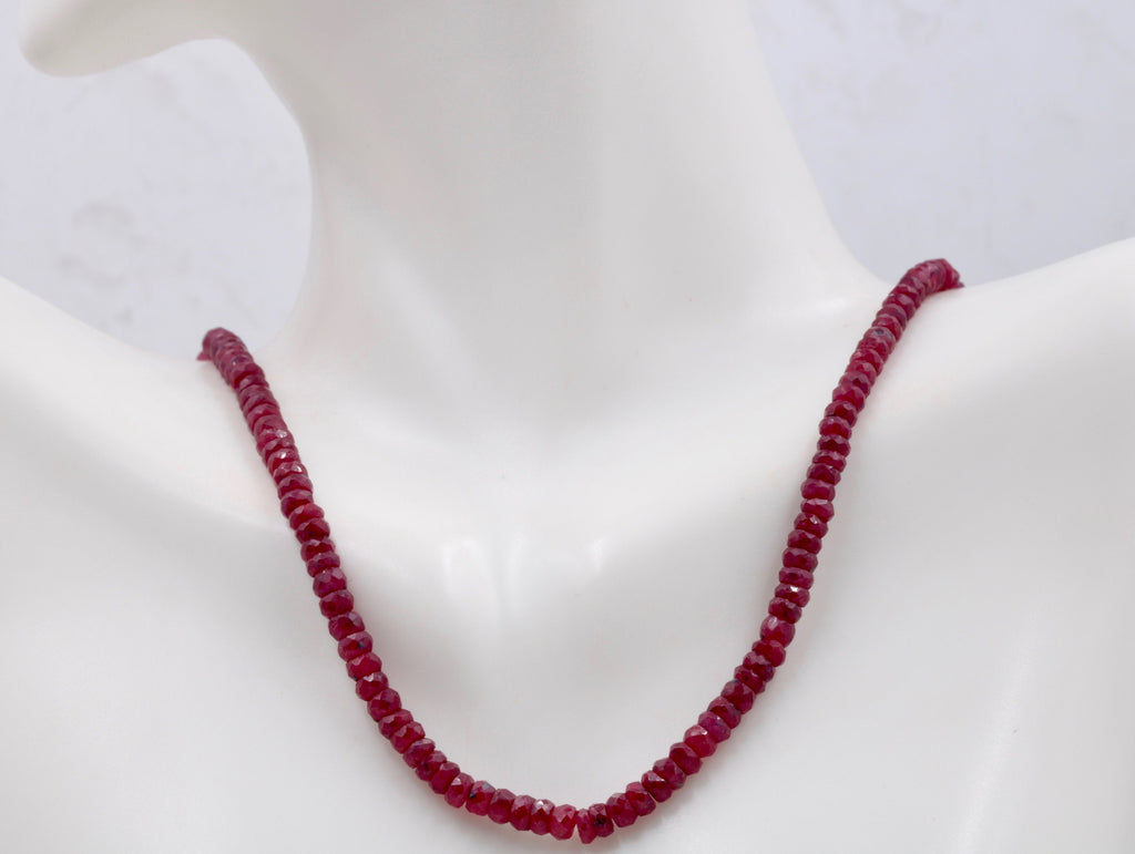 Genuine ruby beads Ruby bead necklace ruby gemstone beads ruby fuchsite beads necklace for women ruby necklace 15-16 inch 70-80ct SKU:113192-Planet Gemstones
