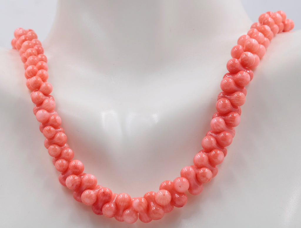 "Natural Coral Beads Coral Necklace Italian Coral beads Red Coral Beads Coral Beads Orange Coral Beads Coral Bead Necklace 16"" SKU: 113151-Planet Gemstones"