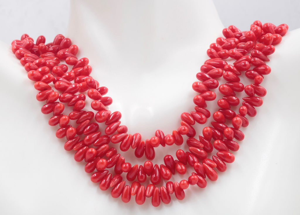 Natural Coral Beads Coral Necklace Italian Coral beads Red Coral Beads Coral Beads Red Coral Beads Coral Bead Necklace 16 inch SKU:113161-Planet Gemstones