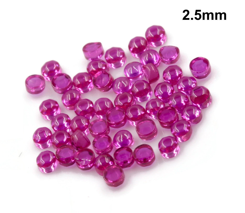 Lab Created Ruby 4.25mm,3.25mm,2.5mm & 2mm gemstone Jewelry Supply Round Ruby 50 Pcs DIY Jewelry Supplies SKU: 114160,114161,114162,114142-Planet Gemstones