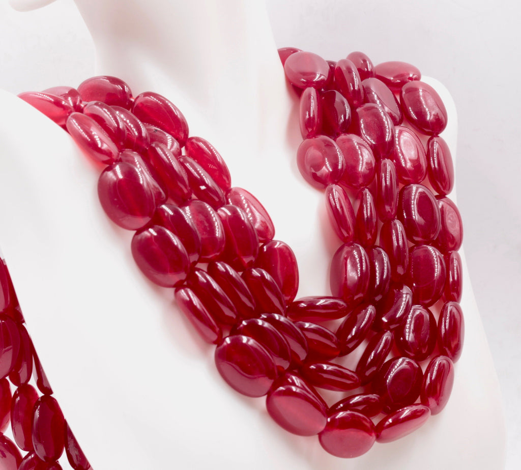Genuine ruby beads Ruby bead necklace ruby gemstone beads ruby fuchsite beads necklace for women ruby necklace SKU: 114345,114346-Ruby-Planet Gemstones