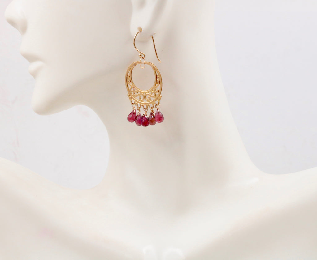 14KY Gold Rubilite party earrings Long Drop Earrings SKU:6142204-earrings-Planet Gemstones