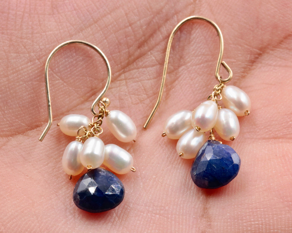 14KY Gold sapphire and pearl earrings SKU:6142202-earrings-Planet Gemstones