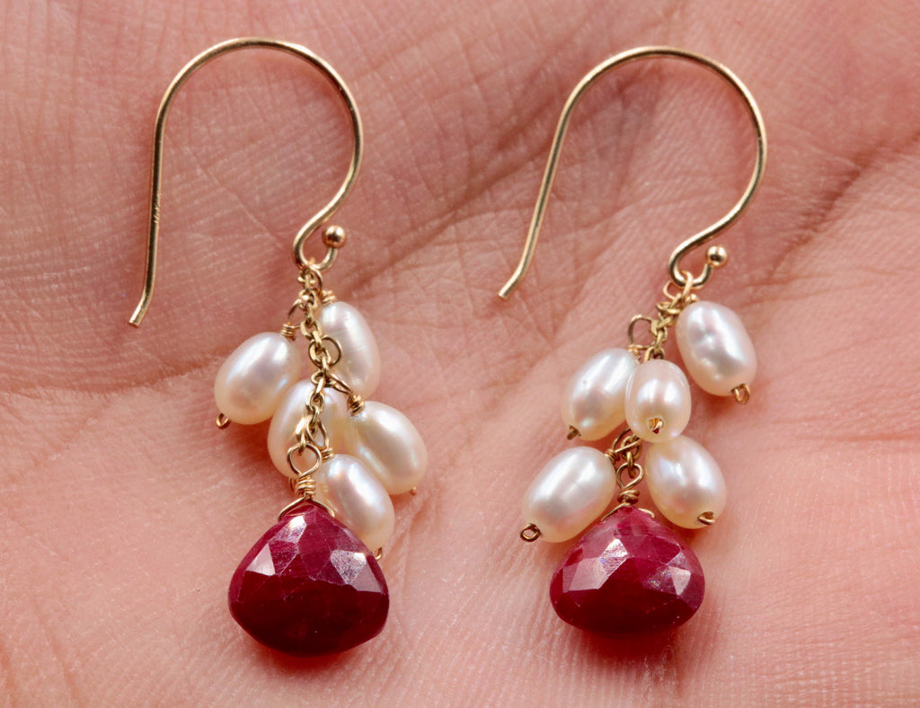 14KY Gold Ruby and Pearl earrings SKU:6142200-earrings-Planet Gemstones