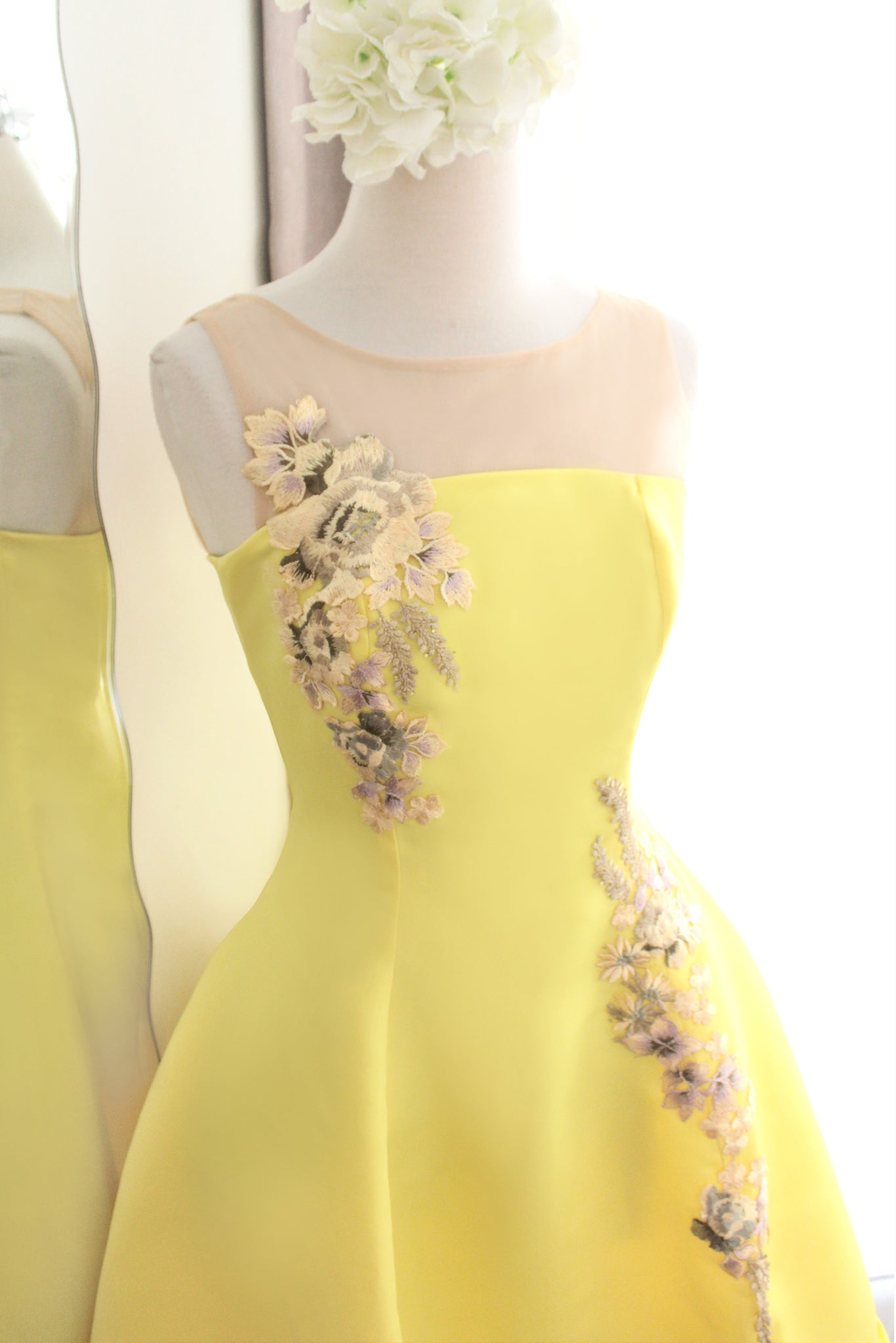 Emma dress in  lime yellow