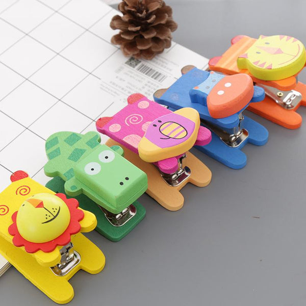 cartoon wooden animal mini stapler