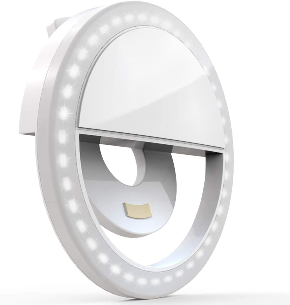 Clip on Selfie Ring Light [Rechargeable Battery] with 36 LED for Smart Phone Camera Round Shape, White