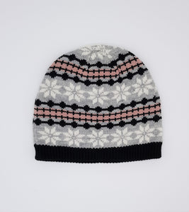 Snowflake hat - Black, grey & pink