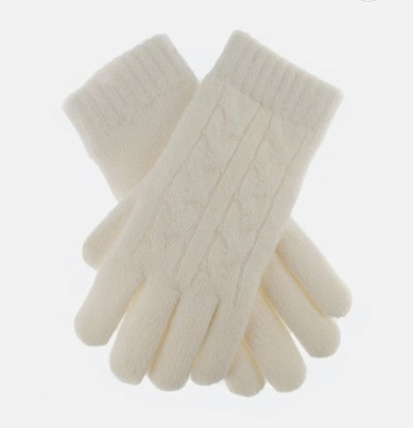Cable Knit Gloves - Winter White