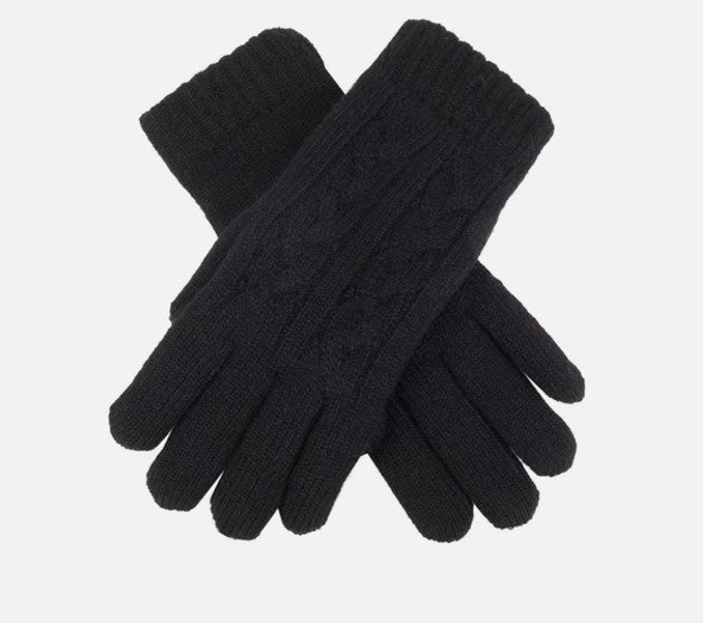 Cable Knit Gloves - Black