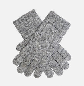 Metallic Cable Knit Gloves - Dove Grey