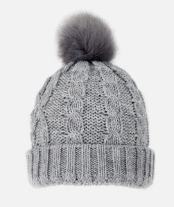 Metallic Cable Knit Hat - Dove Grey