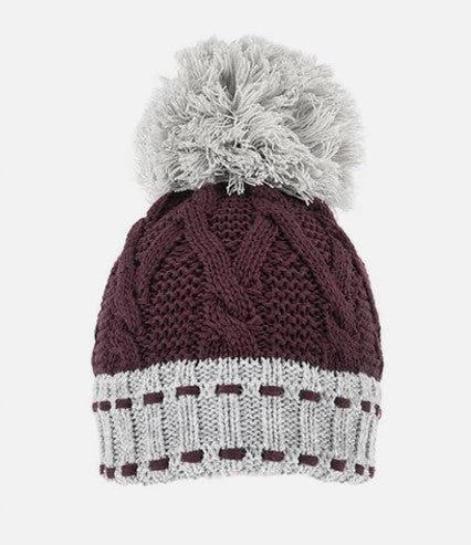 Chunky Cable Knit Hat - Plum & Grey
