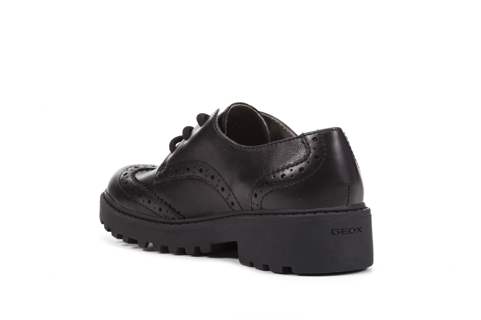 Casey Brogue Lace - Black Leather