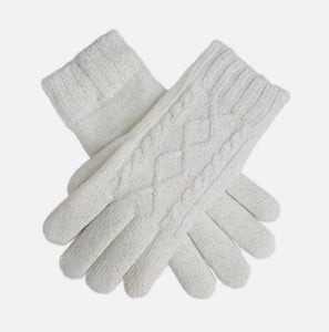 Metallic Cable Knit Gloves - Winter White