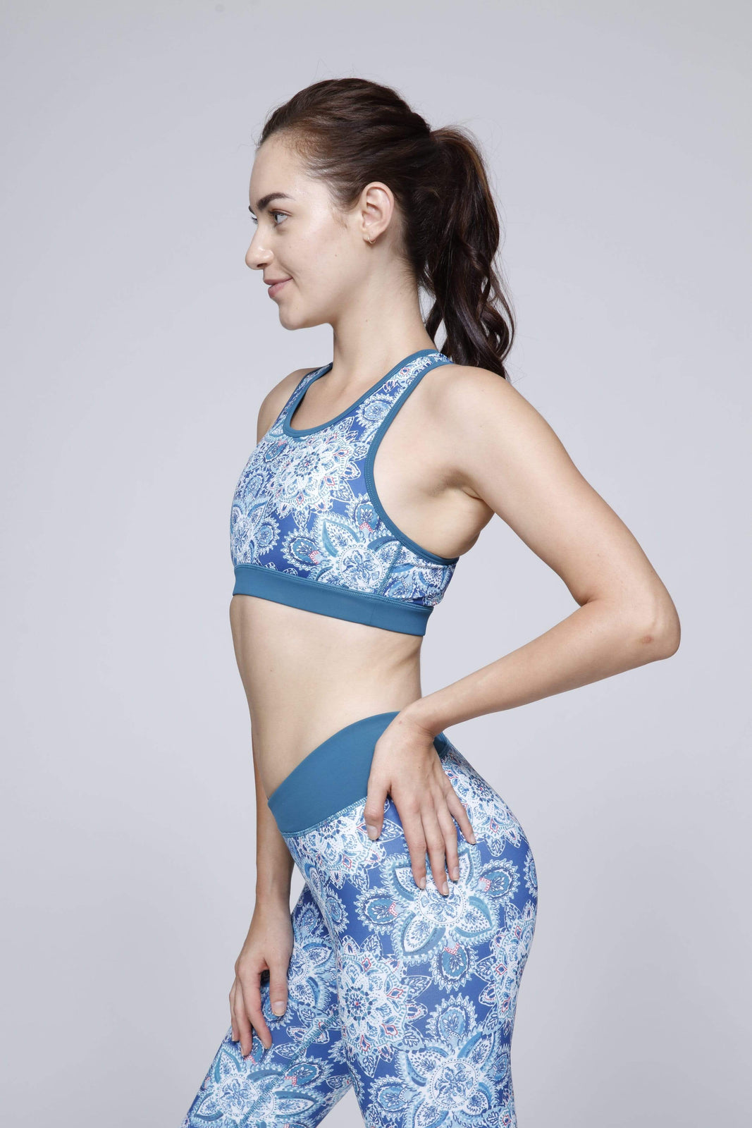 Medallion Sports Bra in Blue Coral Medallion