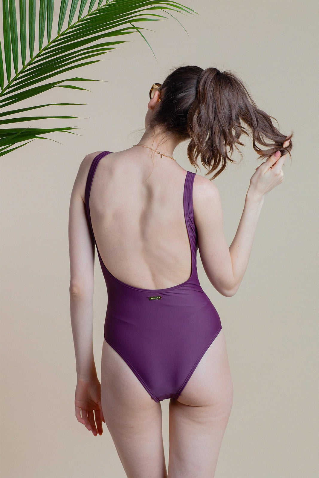 Venice Low Back One Piece in Plum