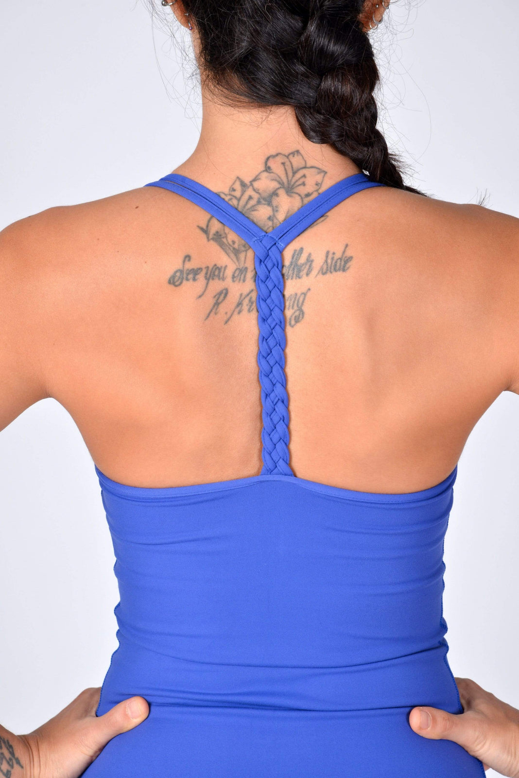 Braided T-Back Top in Persian Blue