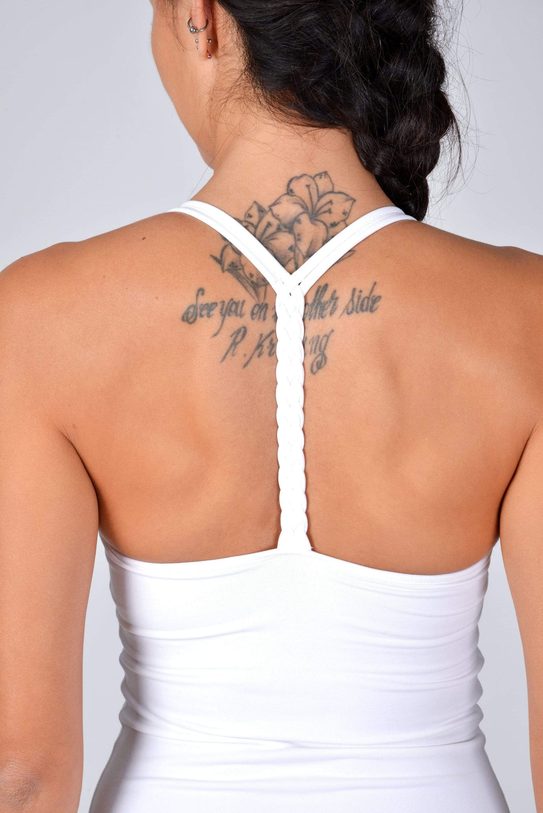 Braided T-Back Top in White