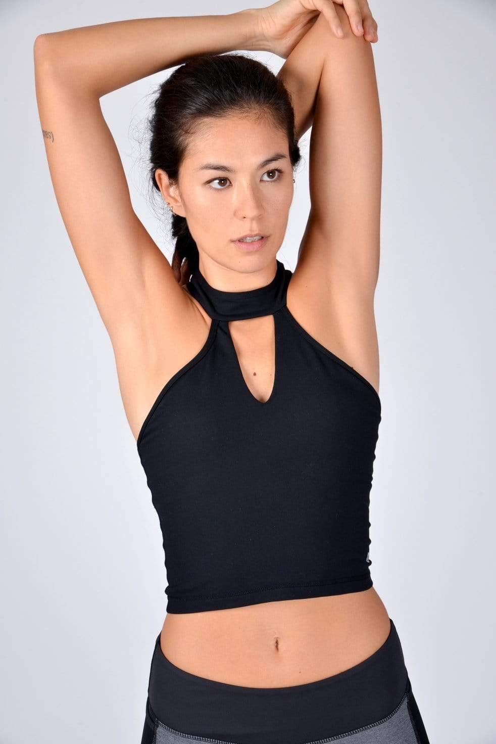 High Neck Chaturanga Top in Black