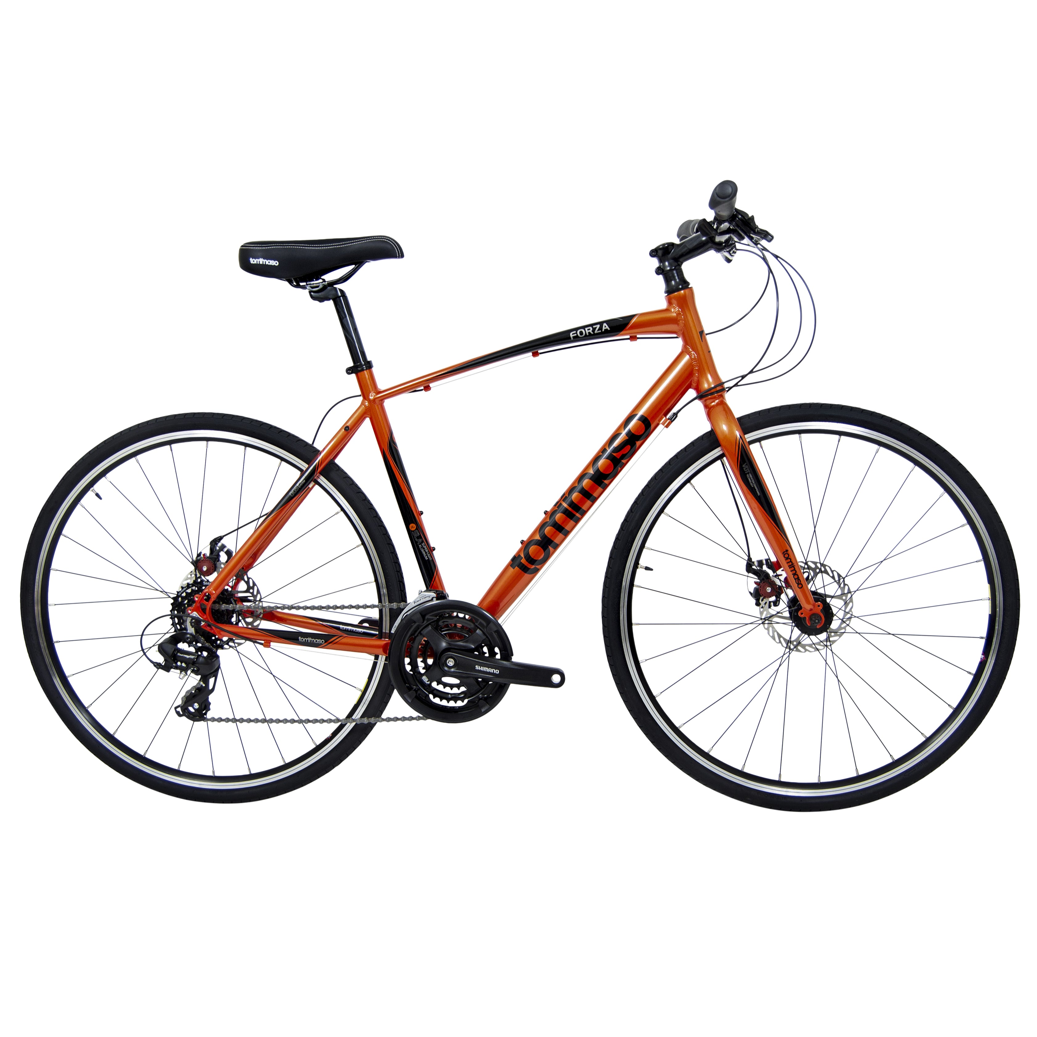 orange tommaso city hybrid bicycle