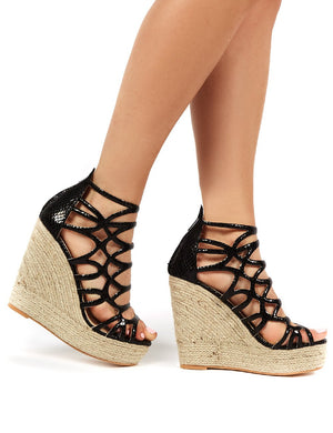 Curly Black Snake Strappy Wedged Heel