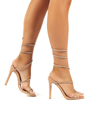 Emmy Nude Diamante Wrap Around Ankle Stiletto Heels
