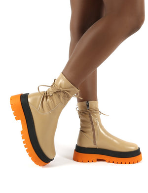 Finale Camel Pu Multi Chunky Sole Ankle Wrap Boots