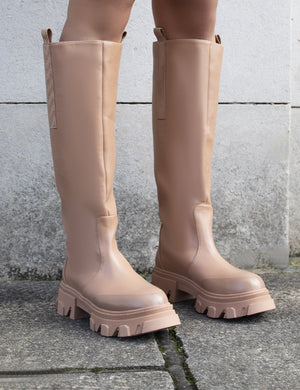Genius Wide Fit Tan Knee High Chunky Sole Boots