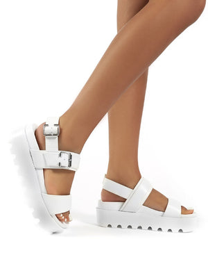 Razor White PU Strappy Buckle Platform Sandals