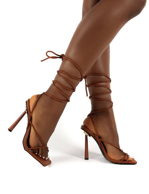 Lacey Tan Square Toe Strappy Lace Up Heels