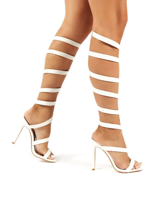 Naia White Spiral Wrap Around Stiletto High Heels