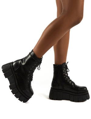 Trooper Black PU Lace Up Chunky Sole Ankle Boots