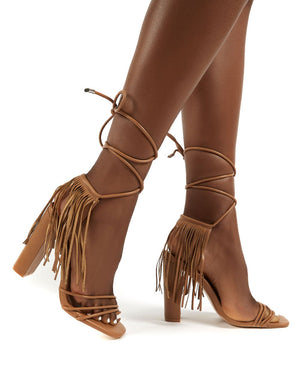 Venga Light Tan Tassel Tie Up Heels
