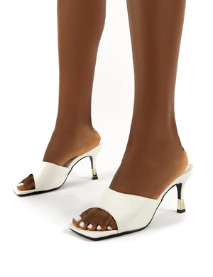 Vogue White Gold Heel Detail Square Toe Mules Sandals