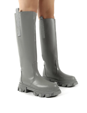 Genius Grey Knee High Chunky Sole Boots