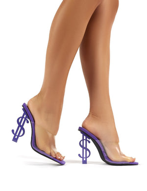 Cash Purple Statement Heel Perspex Heeled Mules