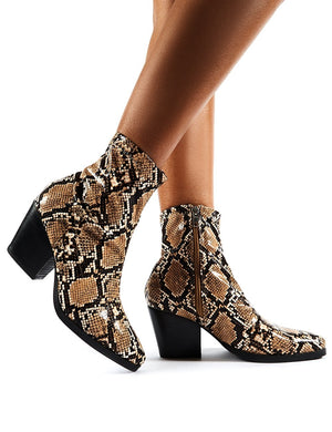 Charlie Snake Western Heeled Ankle Boots